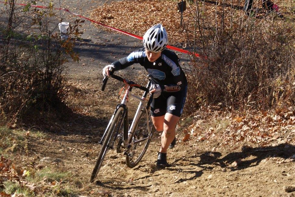 Kristine Contento-Angell running up at westwood velo cx